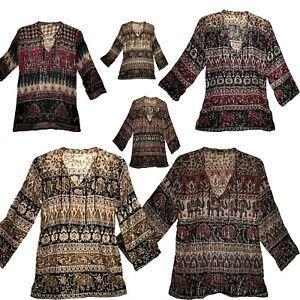 Indian Cotton Lurex Ethnic Gypsy Top Tunic Retro Hippie Boho Blouse Blusa Dress