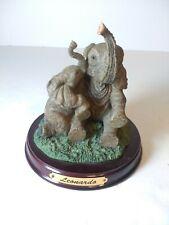 Leonardo Collection Elephant Figurine Mama & Baby Elephants Wood Base Trunks Up
