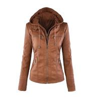 Winter women leather jacket female hooded leather motorcycle coat femme manteaux