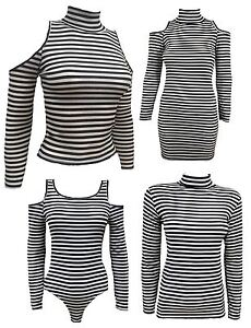 New Womens Striped Stretch Polo Neck Tops Bodycon Dress 8-14