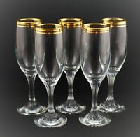 VINTAGE SET OF 5 VALENCIA CRYSTAL GLASS WINE GOBLETS GOLD RIM