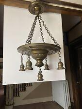 Vintage Antique 20s Ceiling Light lamp fixture pan brass light chandelier