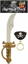 3 Piece Pirate Costume Set - Sword Cutlass Eyepatch Earring Fancy Dress Children