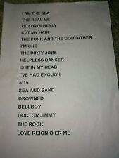 The Who USED Setlist, Mod, Concert,Memorabilia, super fan,collectible