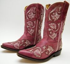 KIDS YOUTH CORRAL G-1093 PLUM PINK EMBROIDERED LEATHER COWBOY WESTERN BOOTS 11