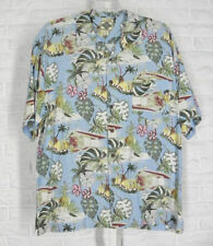 TRADER BAY Shirt Retro Hawaiian Tiki Print Textured Silk Blue Green Red XLarge