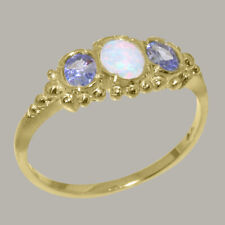Solid 9ct Yellow Gold Real Opal & Tanzanite Ladies 3 stone Ring - Sizes J to Z