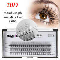 C Curl Flare Cluster Long Natural Lashes Individual Mink Hair False Eyelashes AA