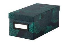 Ikea Tjena Storage Box, Lid & Self Adhesive Label Holder, Blue/Black, BNWT