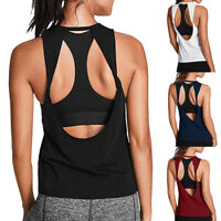 Womens Activewear Open Back Yoga Vest Shirt Sexy Workout Sports Gym Tank Tops