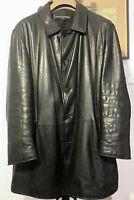 Enrico Mandelli cappotto monopetto in pelle di qualità colore nero Tg.52