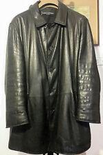 Enrico Mandelli, cappotto monopetto, pelle nero  (Tg.52)