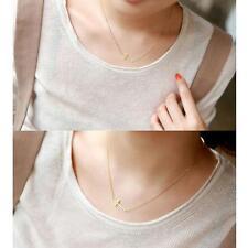Fashion Women Gold Horizontal Sideways Cross Choker Collar Pendant Necklace Chai