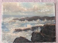 "Oil Painting on Board Signed by Artist "" Fred Pye "" Seascape Rocks Coastal Maine"