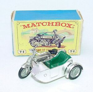 Matchbox Lesney MOY 1:34 SUNBEAM MOTORCYCLE & SIDECAR 1914 Bike Y-8 NMIB`60 RARE