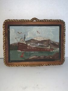 Vintage NAUTICAL Cargo Ship Wood Relief Carving Wall Hanging St. Mary's River,MI