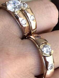 14k solid Ring Trio 3pc Set Engage ManMade Round Diamond tri Gold 6 9 4578 10 11
