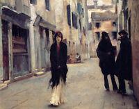 Oil painting John Singer Sargent - Street Scene landscape in Venice canvas