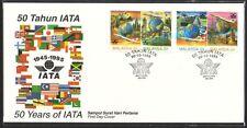 1995 Malaysia 50 Years IATA Se-tenant Pairs SPECIAL Format 4v Stamp FDC (Melaka)