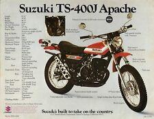 1972 SUZUKI TS-400J APACHE SALES SPECS AD/ BROCHURE