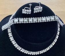 3 Piece Jewellery Set c1930/ 40's Vintage Art Deco Rosada Claw Set Rhinestone