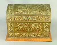 ! Antique c.1900 ART NOUVEAU Embossed Brass & Wood Letter Document Box