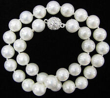 10mm Genuine AAA White South Sea Shell Pearl Necklace 24 Inch