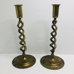 Two Ornate Decorative Brass Spiral Candle Holder Sconce Set Halloween Prop
