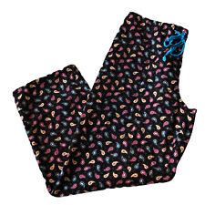 Vera Bradley Kensington Lounge Pants Womens M Medium Corduroy Black Paisley EUC