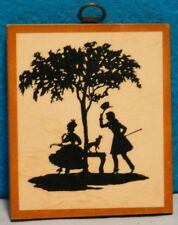 Silhouette Picture Wooden Plaque -1940-1950