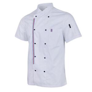 Short Sleeved Chef Coat Jacket Restaurant Chef Vest Uniform with Front Pocket