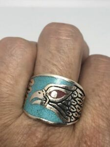Vintage Hawk Men's Ring Silver White Bronze Turquoise Inlay Ring Size 11