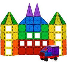 BCP 100-Piece Clear Rainbow Magnetic Building Tiles Set - Multi