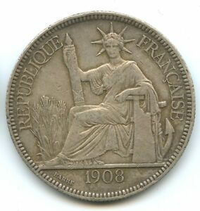 Indochina Piastre Of Commerce 1908 Paris Km 5a.1