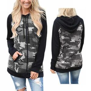 Womens Camouflage Hoodie Ladies Hoody Long Sleeves Zip Sweatshirt Plus Size 6-30