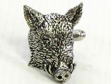 Large Bold Cufflinks Gift Mens Boxed Wild Boar Head Fine English Pewter