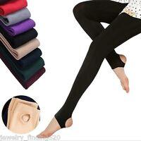 Womens Winter Thick Warm Leggings Stockings Skinny Pants Footless Slim Stretch