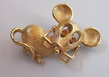 Vintage Avon Goldtone Pin/Brooch Mouse with Faux Amber Eyes