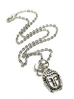 Thai Buddha & Om Pendant Silver Link Chain Necklace Buddhist Peace Ethnic
