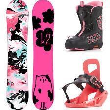 K2 Chica Grom Paquete Niños Juego de Snowboard Completo Con Fijación Y Botas Neu