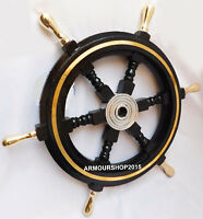 Nautical Black Wooden Ship Steering Wheel Vintage Wall Decor Boat 24 Inches