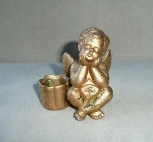 """Vintage Cherub Cupid Angel Ceramic Taper Candle Holder Speckled Gold 3"""""""