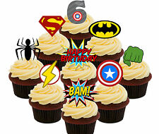 6th Birthday Superhero Edible Cup Cake Toppers, 36 Boys Stand-up Bun Decorations