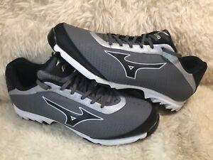 Mizuno Men's 9 Spike Vapor Elite 7 Baseball Shoes Gray Black Low Top Size 14 M