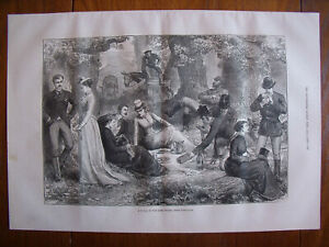 A picnic in the Cork woods, near Gibraltar....Antique  Engraving 1877
