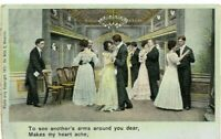 "Vintage Post Card c.1907 ""Heart Ache Ballroom Dancers Couples Tuxedos Evening"