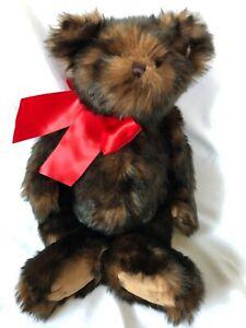 "17"" Brown Furry Teddy Bear Bearington Red Bow Jointed Plush Stuffed Animal Toy"