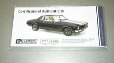 1:18 CLASSIC CARLECTABLE HOLDEN MONARO HQ GTS CERT & BOOKLET ONLY, NEVER OPENED