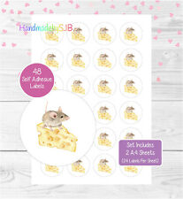Mouse Stickers, 48 Round Labels For Envelope Seals/Party Bags/Favours/Gifts