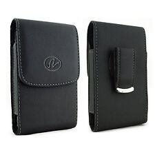 Premium Vertical Leather Belt Clip Case for Cell Phones w/ OTTERBOX COMMUTER on